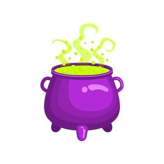 Caldeirão de bruxa com líquido verde fumegante e borbulhante poção mágica elemento de design de halloween