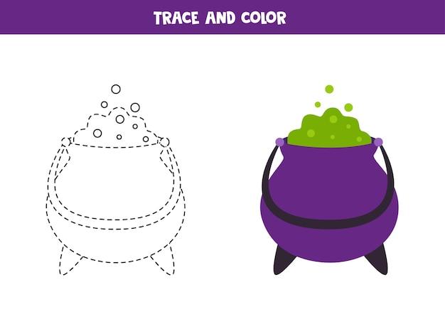 Caldeirão de desenho animado de rastreamento e cor. planilha para crianças.