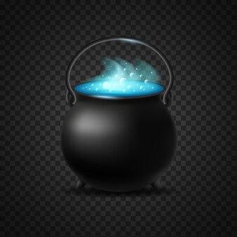 Caldeirão de poção de bruxaria azul isolado. vapor crescente com bolhas de pote de poção borbulhante