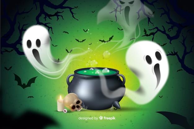 Caldeirão e fantasma fundo de halloween