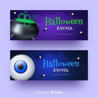 Caldeirão e olho banners de halloween realistas