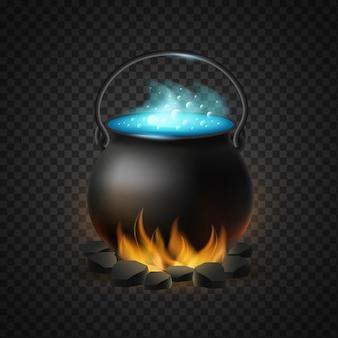 Caldeirão fervente de poção mágica isolado. aquecendo brasas negras ardentes de pote de poção azul borbulhante símbolo de bruxaria e vetor de halloween