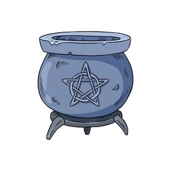 Caldeirão mágico com doodle de pentagrama
