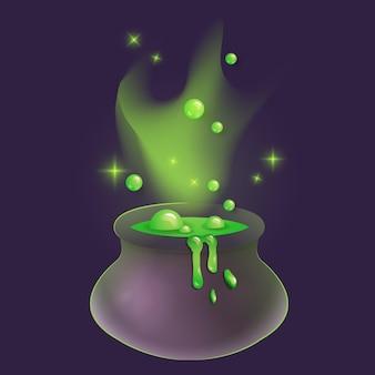 Caldeirão mágico de bruxa com veneno verde. ilustração vetorial