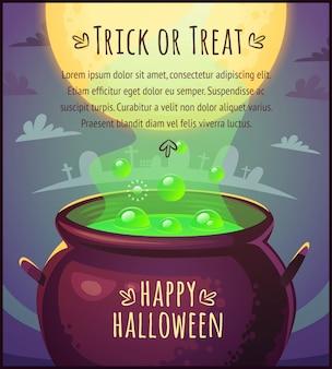 Caldeirão mágico dos desenhos animados, cheio de poção com bolhas flutuantes no fundo do céu de lua cheia cartaz de feliz dia das bruxas ilustração de cartão de doces ou travessuras