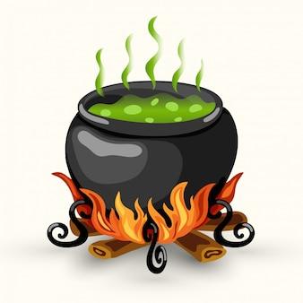 Caldeirão wtch com veneno fervente e fogueira