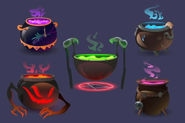 Caldeirões de bruxa com poções mágicas e conjunto de desenho animado elixir fervente