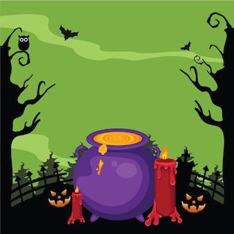 Caldeirões de bruxa com poções mágicas e desenho animado elixir fervente