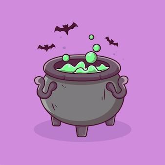 Caldeirões de bruxa com poções mágicas e fundo de halloween fervente de elixir