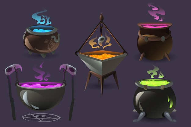 Caldeirões de bruxa com poções mágicas ferventes, velhas caldeiras de cozinha com cerveja colorida e vapor