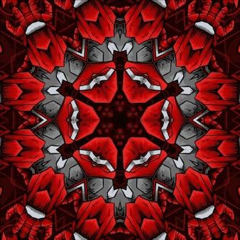 Caleidoscópio giratório brilhante abstrato de padrão de flor retrô