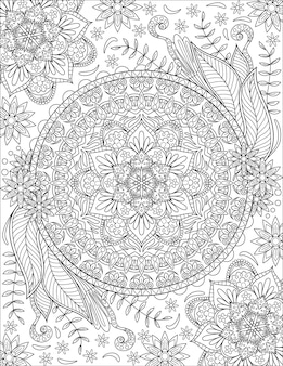 Caleidoscópio simétrico florido símbolo incolor desenho linha geometricamente circular igual