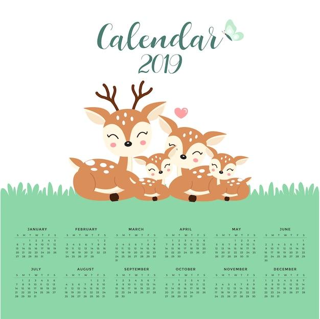Calendar 2019 com a família bonito dos cervos. mão, desenhado, vetorial, ilustração