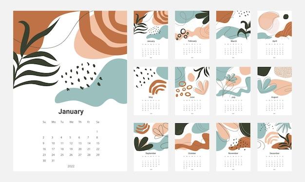 Calendar 2022 template vector definir calendário de mesa 2022 planejador de design de calendário de parede Vetor Premium