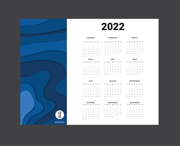 Calendar 2022 template vector definir calendário de mesa 2022 planejador de design de calendário de parede