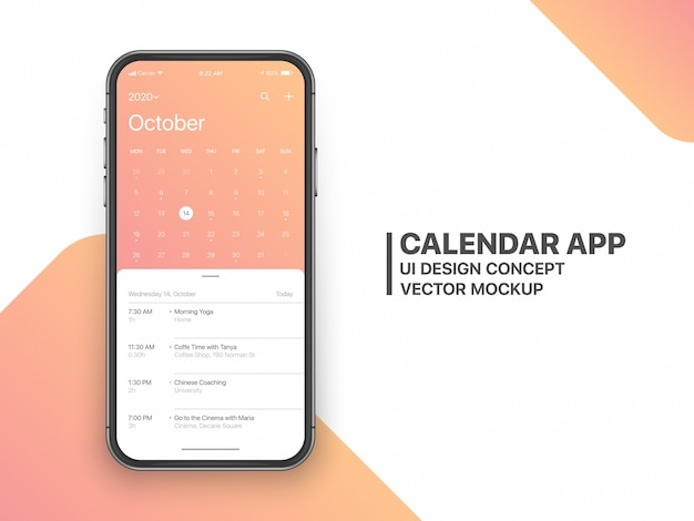Calendar app ui ux concept página de outubro