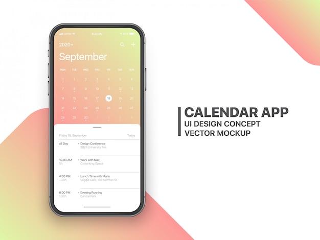 Calendar app ui ux concept página de setembro