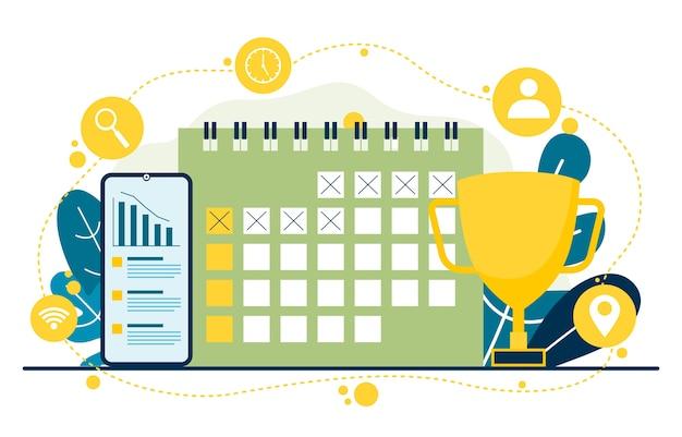 Calendar marketing digital commerce mobile web analysis design ilustração