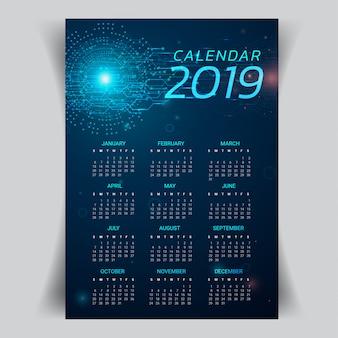 Calendar o ano 2019 com fundo abstrato da tecnologia.