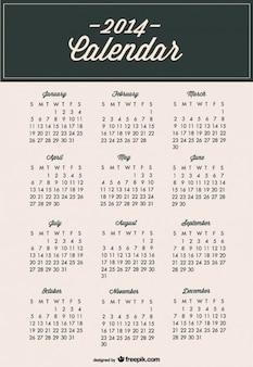 Calendário 2014 modelo moderno e minimalista