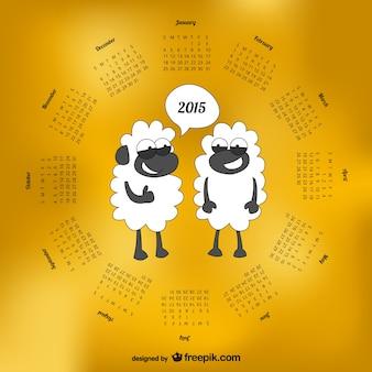 Calendário 2015 com carneiros dos desenhos animados