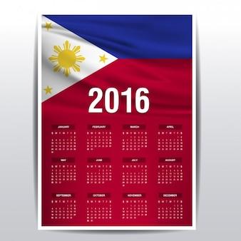 Calendário 2016 da bandeira de filipinas