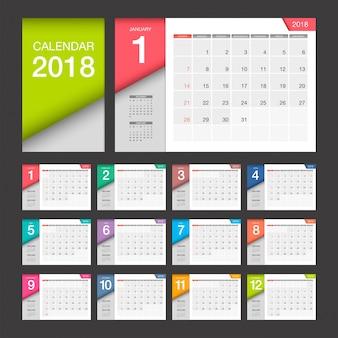 Calendário 2018. calendário de mesa modelo de design moderno.
