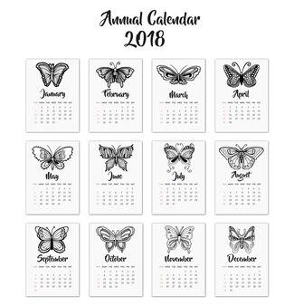 Calendário 2018 com borboletas