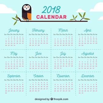 Calendário 2018 com coruja