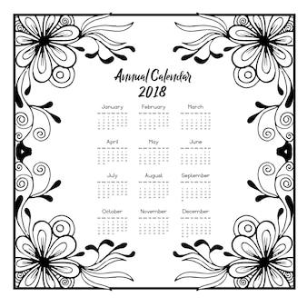 Calendário 2018 com flores