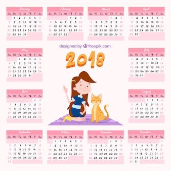 Calendário 2018 com garota e gatinha