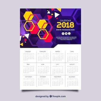 Calendário 2018 com hexágonos coloridos