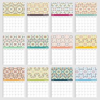 Calendário 2018 com padrões geométricos