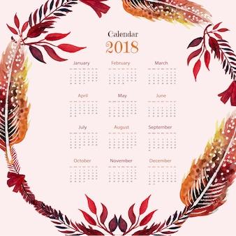 Calendário 2018 com penas