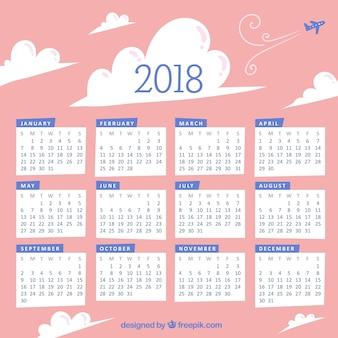 Calendário 2018 das nuvens desenhadas à mão