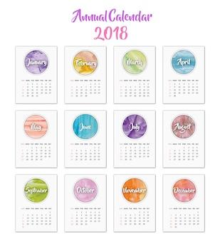 Calendário 2018 design de aquarela