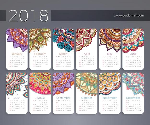Calendário 2018. elementos decorativos vintage