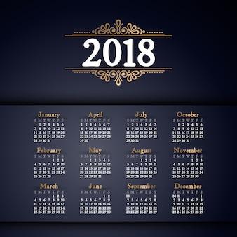 Calendário 2018. pode ser usado para web ou print.