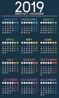 Calendário 2019 ano modelo simples - a semana começa na segunda-feira.