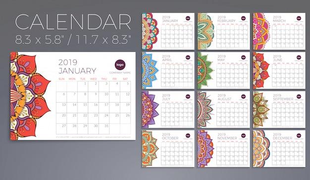 Calendário 2019 com mandalas