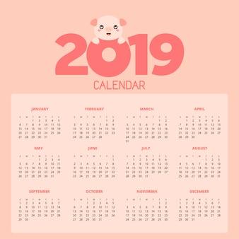 Calendário 2019 com porco bonito. mão, desenhado, vetorial, ilustração