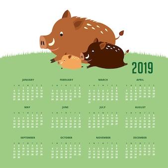 Calendário 2019 com porcos selvagens bonitos. mão, desenhado, vetorial, ilustração
