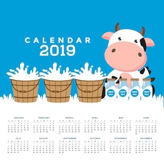Calendário 2019 com vacas bonitos. mão, desenhado, vetorial, ilustração
