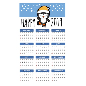 Calendário 2019 feliz