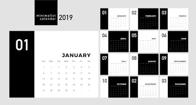 Calendário 2019 trendy estilo minimalista