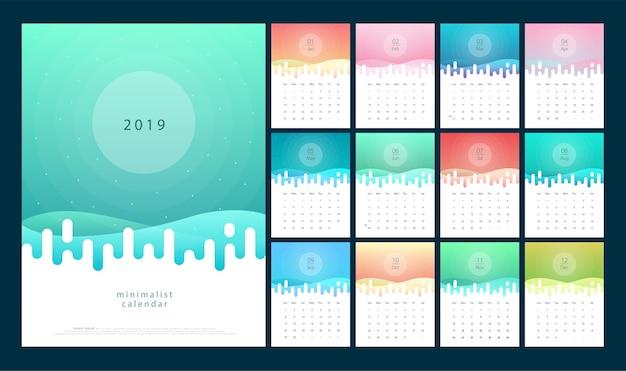 Calendário 2019 trendy gradientes com estilo de cor pastel
