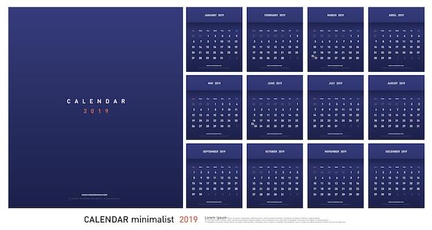 Calendário 2019 trendy gradients estilo minimalista