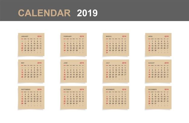 Calendário 2019.