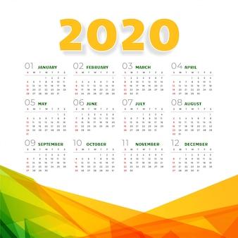 Calendário 2020 abstrato em estilo geométrico
