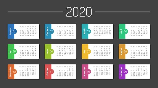 Calendário 2020 ano modelo dia planejador neste minimalista
